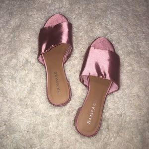 Rampage metallic pink open toed wedges
